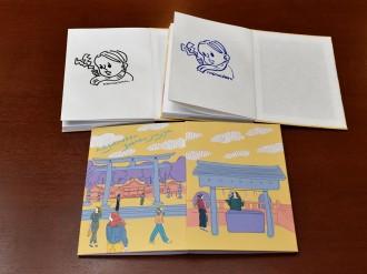 松本・護国神社がオリジナル御朱印帳 「大絵馬」手掛けた古荘風穂さんポップに描く