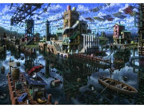 「どこかにありそうで、どこにもない架空の風景」を描いた数々の作品が並ぶ