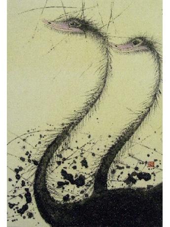2005年から描き始めた「ダチョウ」モチーフの作品
