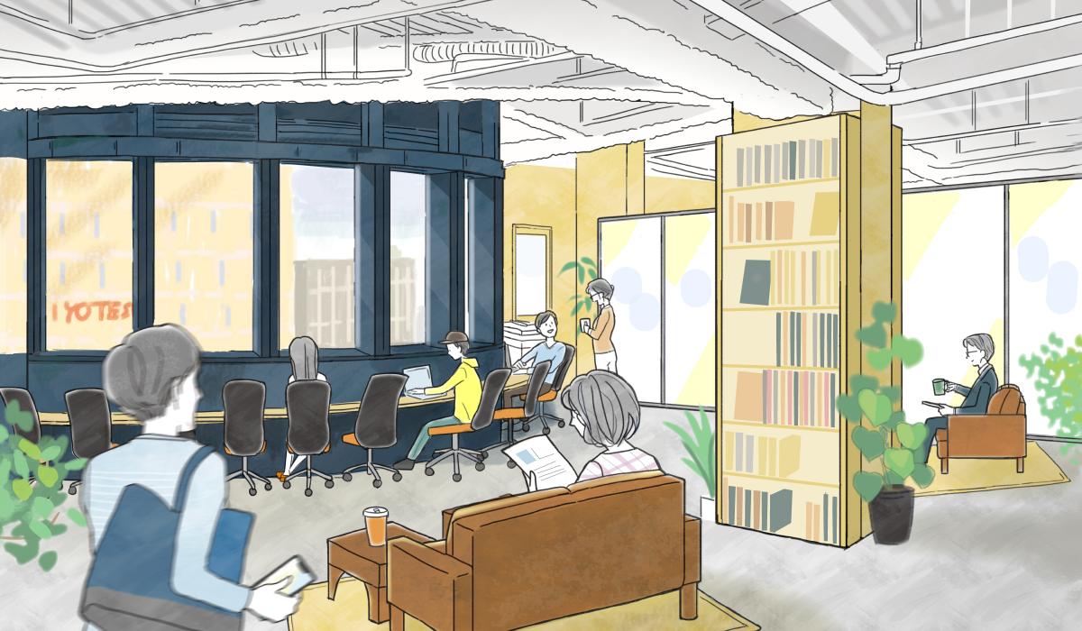 2019年9月初旬にオープンする「マツヤマンスペース・レンタルオフィス(仮称)」イメージ