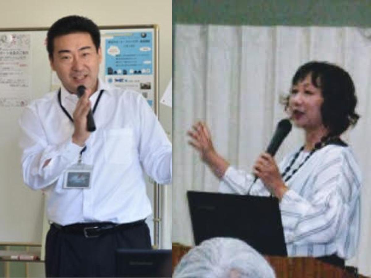 「終活シニア大学」で講師を務める竹中誠実さん(左)と矢野雅世さん(右)