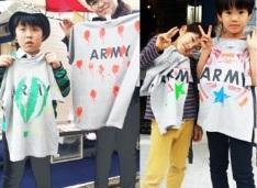 ARMY Tシャツをカスタマイズした子どもたち