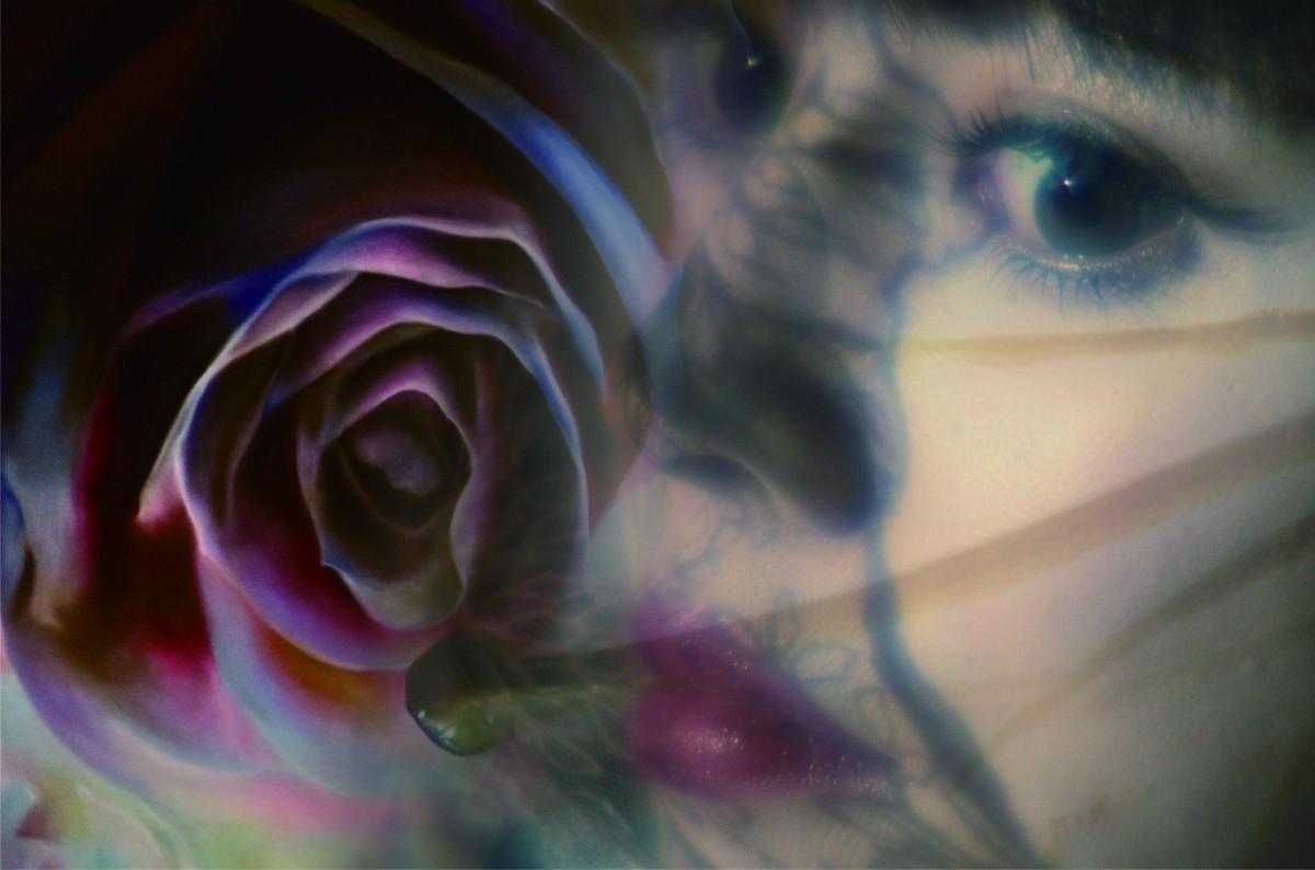 チョークアーティストMoecoさんの個展「秘花」イメージ