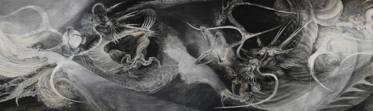 中野嘉之「双水竜図」(部分)2011年 個人蔵