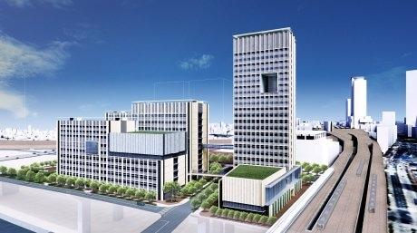 名古屋駅、新幹線車両内から見た新校舎の全景イメージ