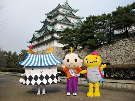 「名古屋城 ゆるキャラ祭り」に参加する(左から)「エビザベス」「はち丸」「だなも」