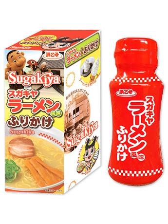 スガキヤの「スーちゃん」と浜乙女のキャラクター「でえたらぼっち」が共演する「スガキヤラーメン風味ふりかけ」のパッケージ