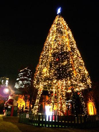 高さ約12メートルのクリスマスツリー。奥には名古屋ルーセントタワーなど名駅の街並が臨める