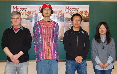 オムニバス映画「Moosic in 中川運河」を手掛けた、(左から)ウィリアムズ監督、宮本監督、井上監督、安藤監督