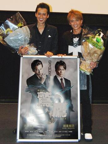 109シネマズ名古屋で舞台あいさつを行った諸星和己さん(右)と大沢樹生さん