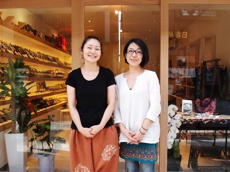 「はきものの野田仙」店主の高木さん(左)、「月のののうさ」店主のカワカタさん