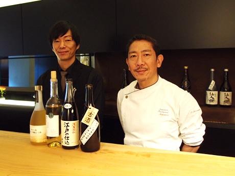 オーナーシェフの松浦仁志さん(右)とマネジャーの白浜和彦さん(左)
