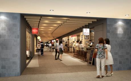 和洋中の飲食店11店舗が軒を連ねる「BIMI yokocho(びみよこちょう)」(完成イメージ)