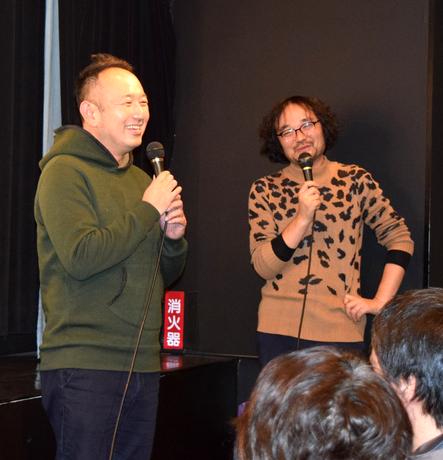 名駅西で映画「14の夜」舞台あいさつ 足立紳監督が来名