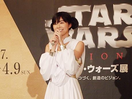 「プリンセス・レイア」風の衣装で登場した名古屋会場公式アンバサダーのSKE48の松井珠理奈さん