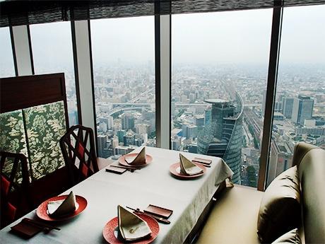 オフィス棟41階にオープンした「中国飯店 麗穂(れいほ)」から見渡せる名古屋の街並み