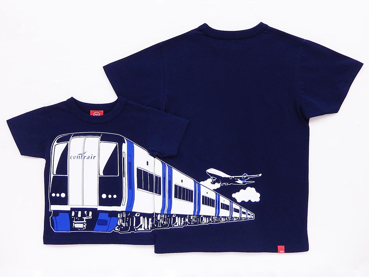 「ミュースカイ」をモチーフにしたTシャツ。前と後ろでつながるデザイン。