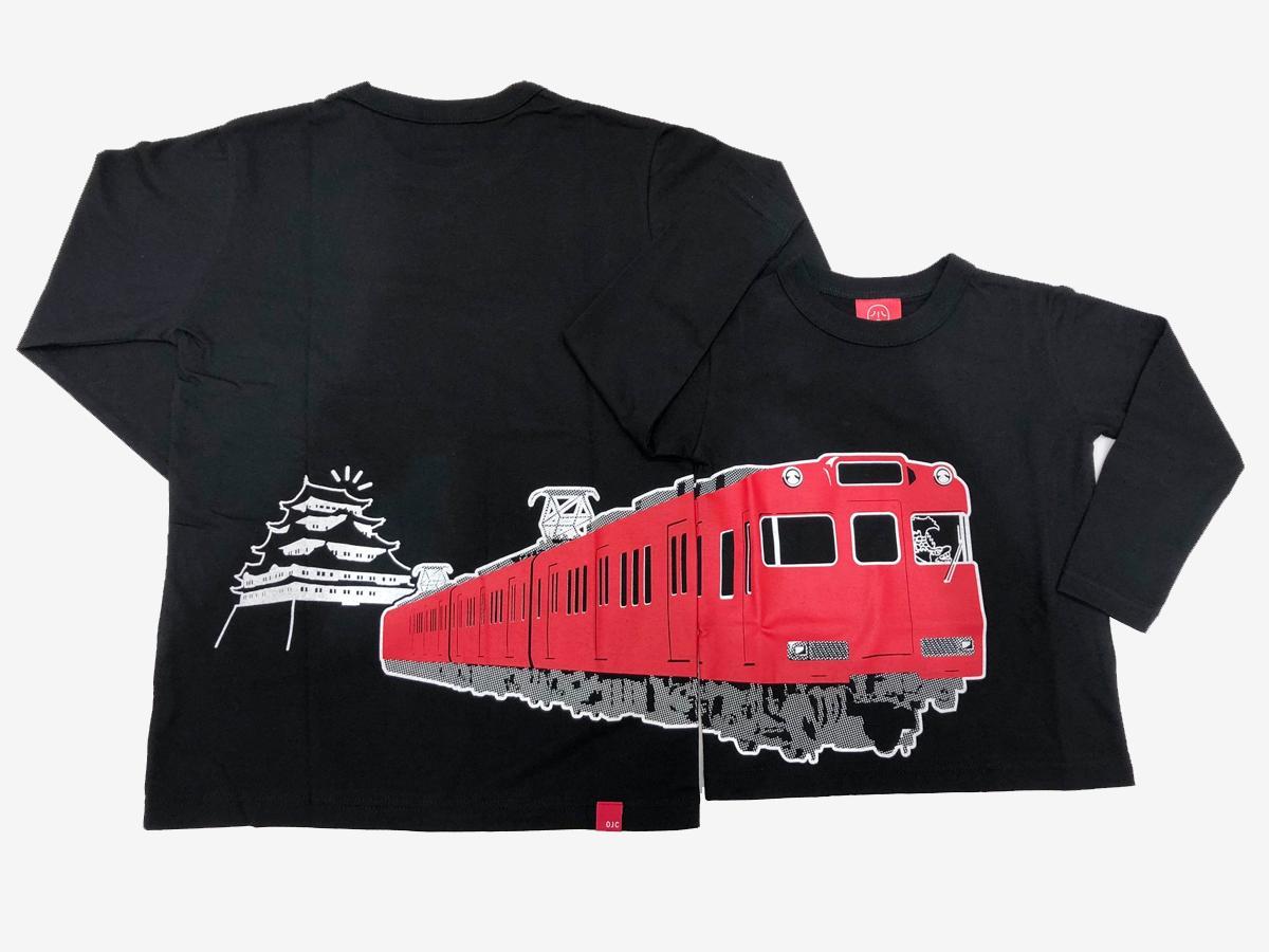 「名鉄6000系」モチーフの長袖Tシャツ。フロントとバックでつながるデザイン。