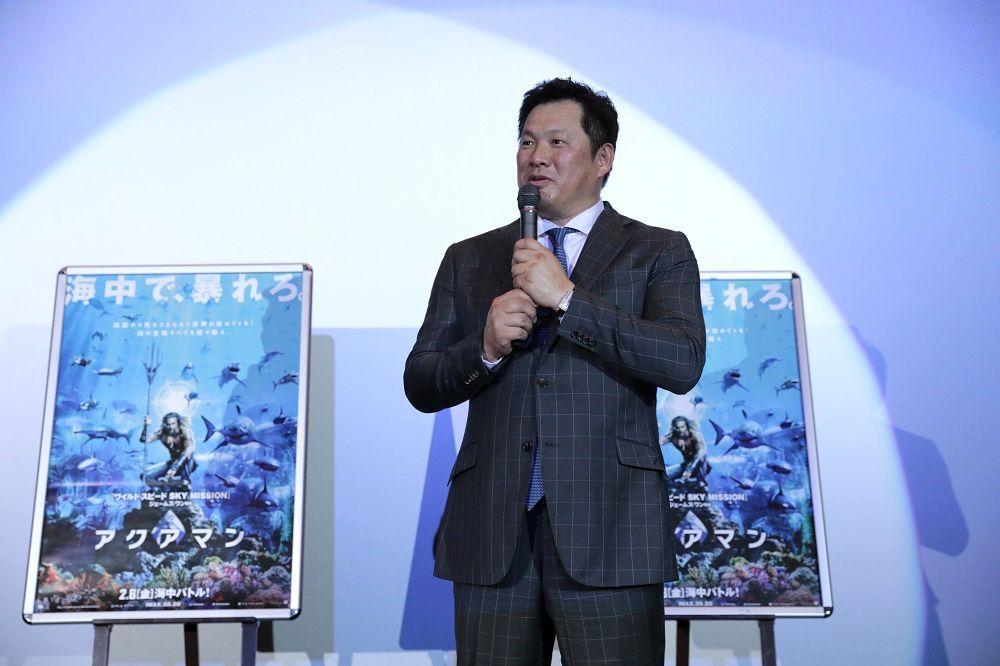 映画「アクアマン」の魅力を語る名古屋アンバサダーの山崎武司さん