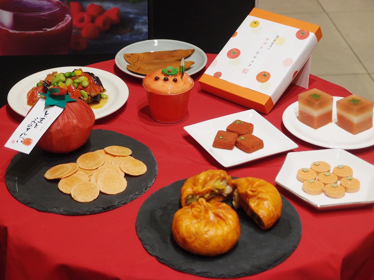 「トマト プラス」限定のトマトを使った総菜やスイーツ