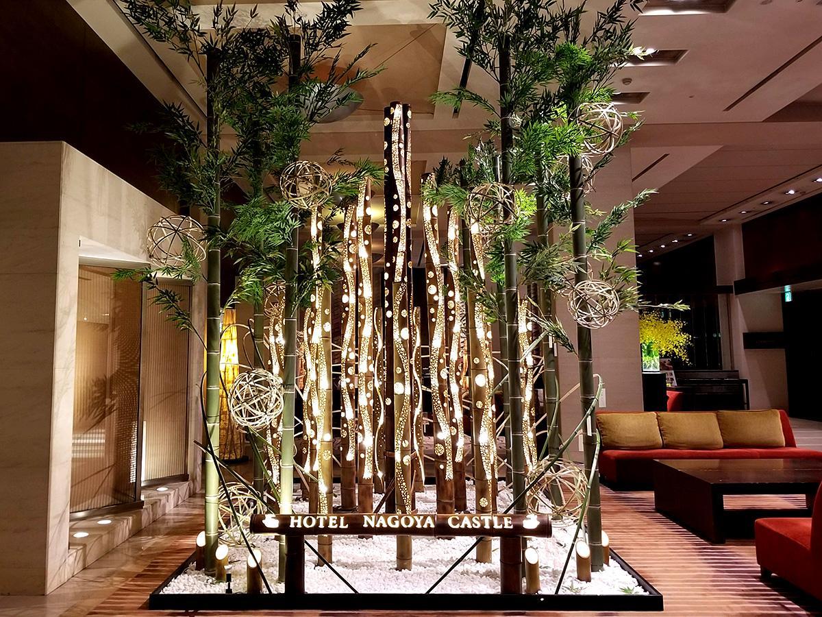ロビーに飾る「竹あかり」を使った七夕装飾(写真提供:ホテルナゴヤキャッスル)