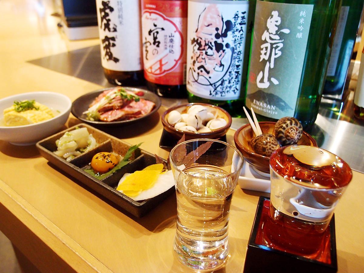 「名駅酒Ba~東海の酒とつまみ~」で提供する日本酒やつまみの一部