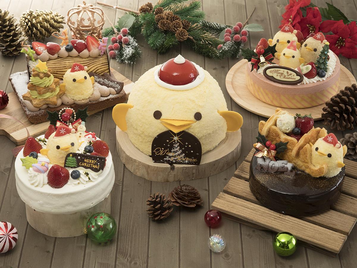 「ぴよりん」を使ったさまざまなクリスマスケーキ