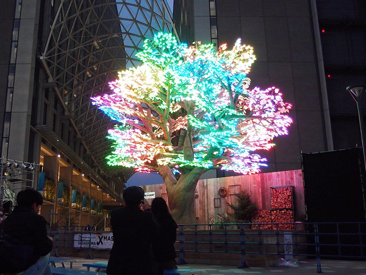 「SASASHIMA XMAS LIGHTS 2019」のシンボルのデジタルクリスマスツリー