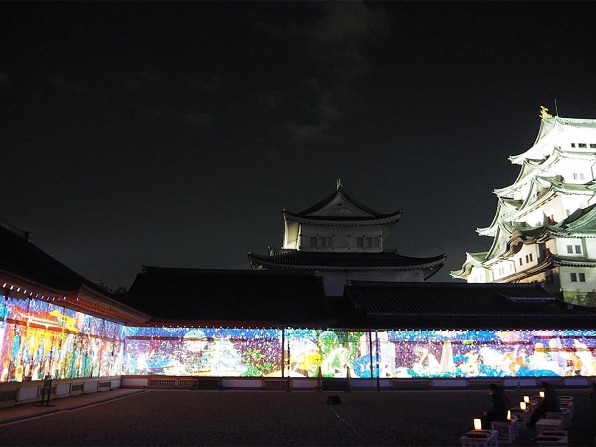「名古屋城夜会 by 1→10」の目玉だという、本丸御殿壁面に映し出された全長70メートルのプロジェクションマッピング。ライトアップされた天守閣とともに楽しめる