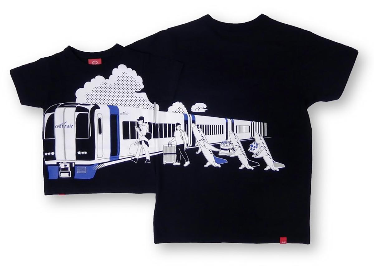 セントレア開港15周年を記念した「ミュースカイ×OJICO コラボレーションTシャツ2020」(イメージ)。フロントとバックで絵柄がつながるデザインが特徴