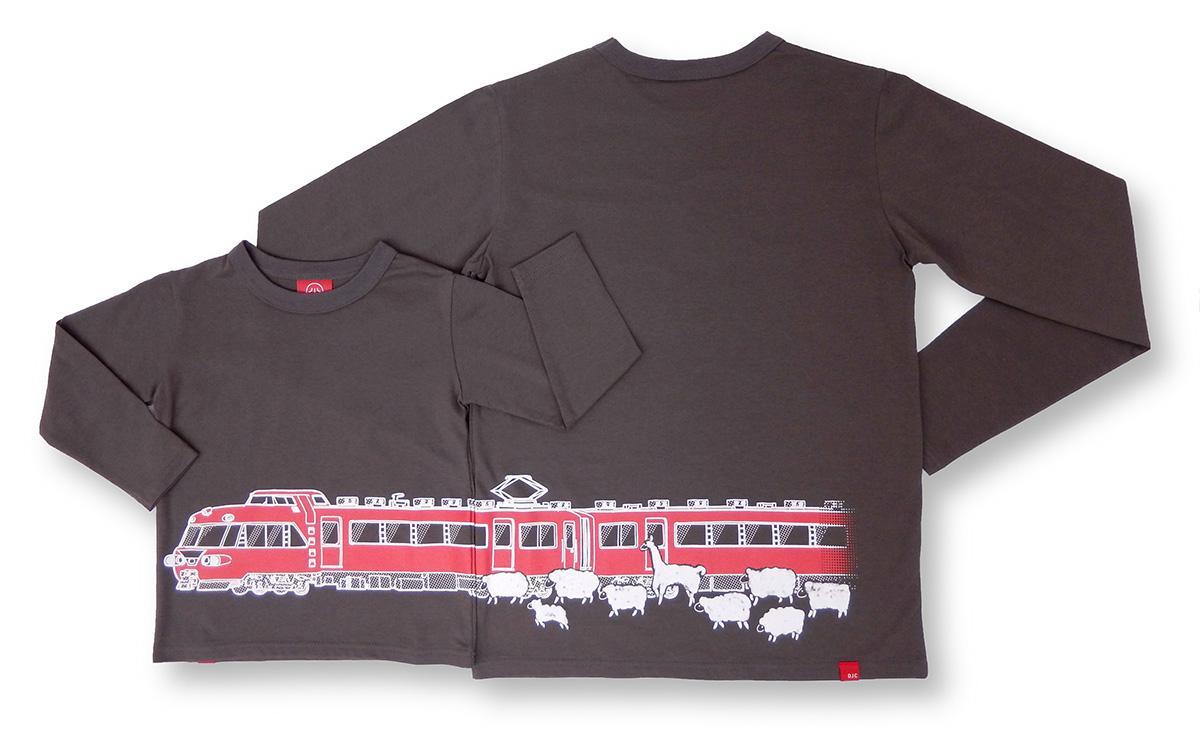 名鉄7000系パノラマカーをデザインした長袖Tシャツ(画像提供=チャンネルアッシュ)