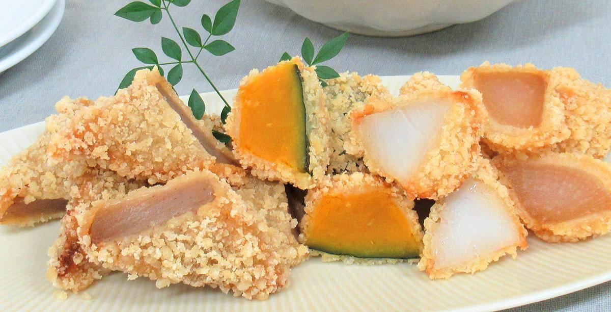 「まつおか」の煮物を天ぷらにする「天ぷら惣菜」。左から、「生芋こんにゃく天」「かぼちゃのうま煮天」「里芋のふくめ煮天」「つゆだく大根天」(イメージ)