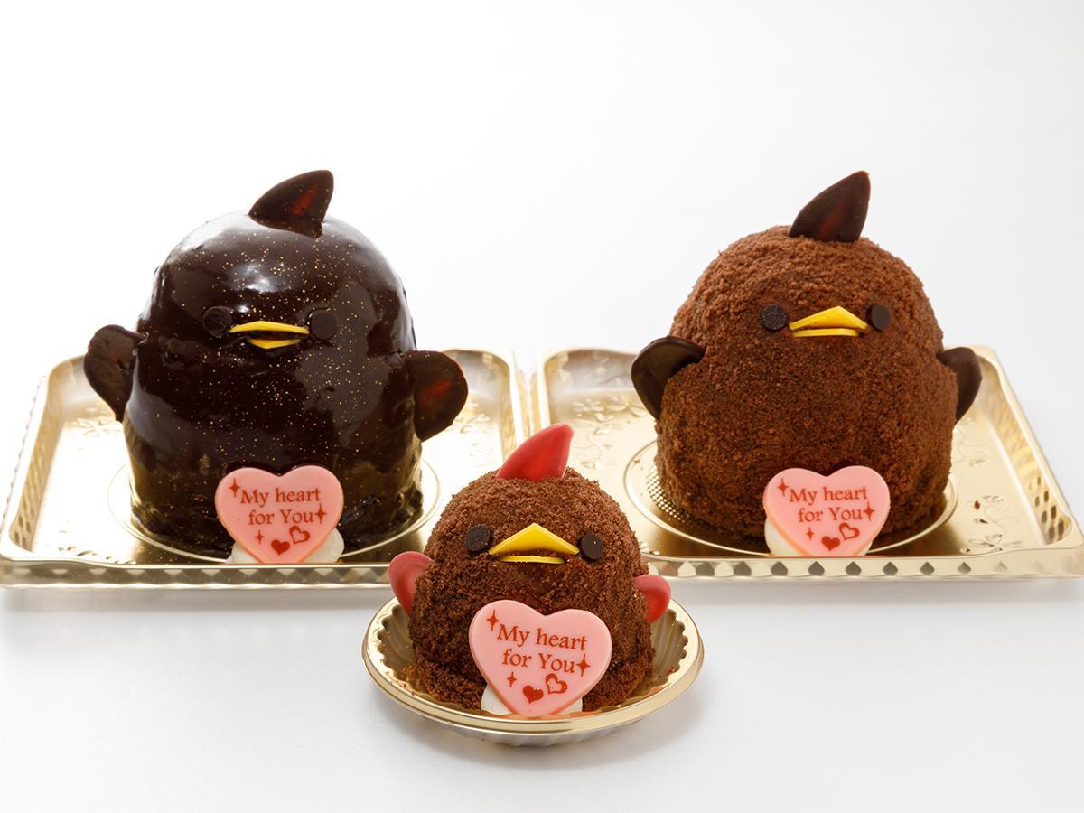 左から「バレンタインぴよりん 濃厚ショコラ」、「バレンタインぴよりん」、「バレンタインぴよりん ダブルベリー」(画像提供=ジェイアール東海フードサービス)