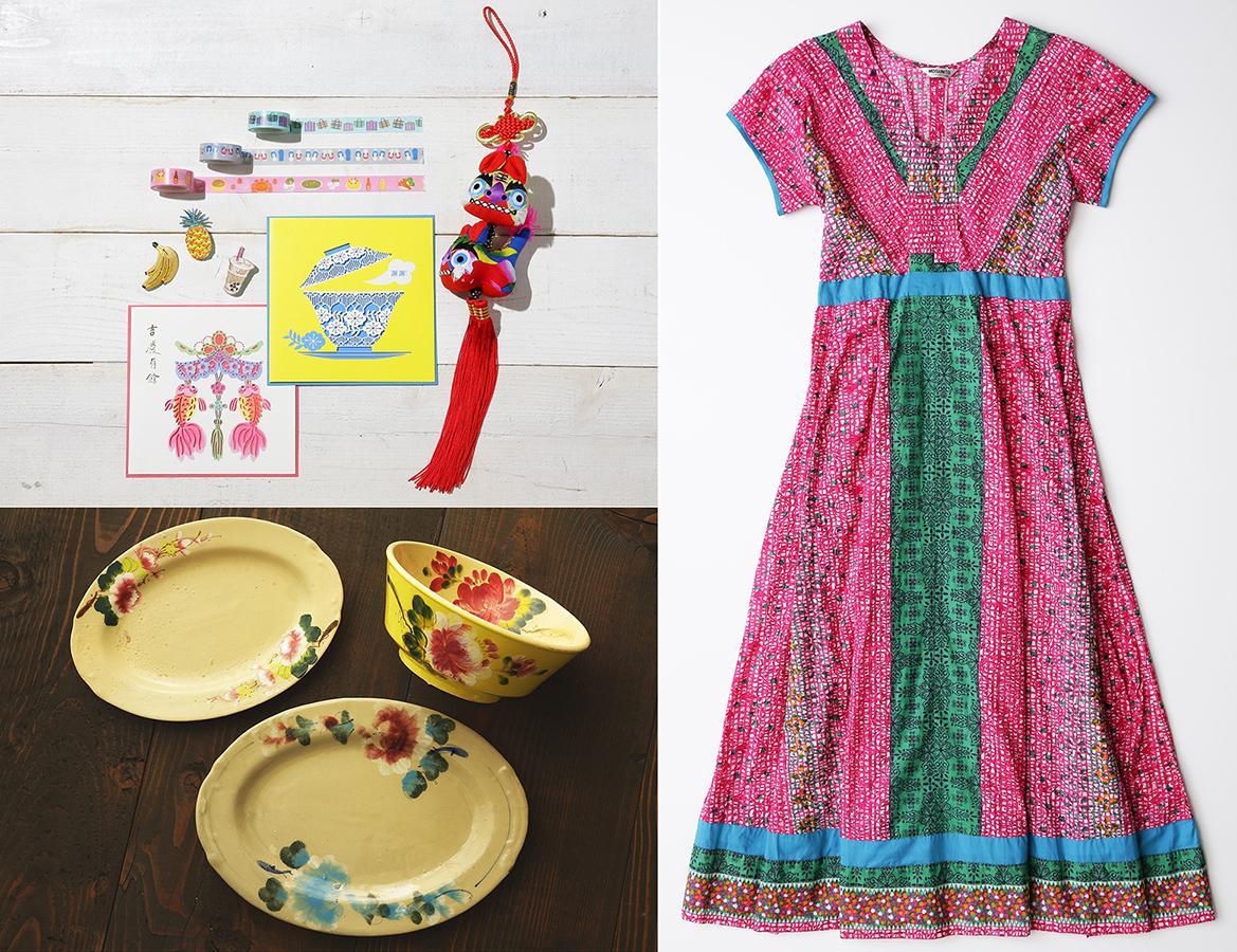 「アジアフェア2021」で台湾の文具(左上)、ベトナムの「ソンべ焼き」の皿(左下)、タイのワンピース(右)(イメージ)などを販売