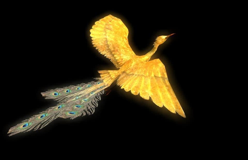 照射する金色の「3D鳳凰」