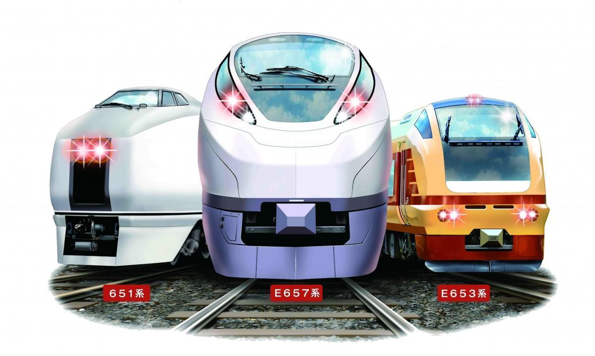 車両展示を行うE657系、E653系、651系