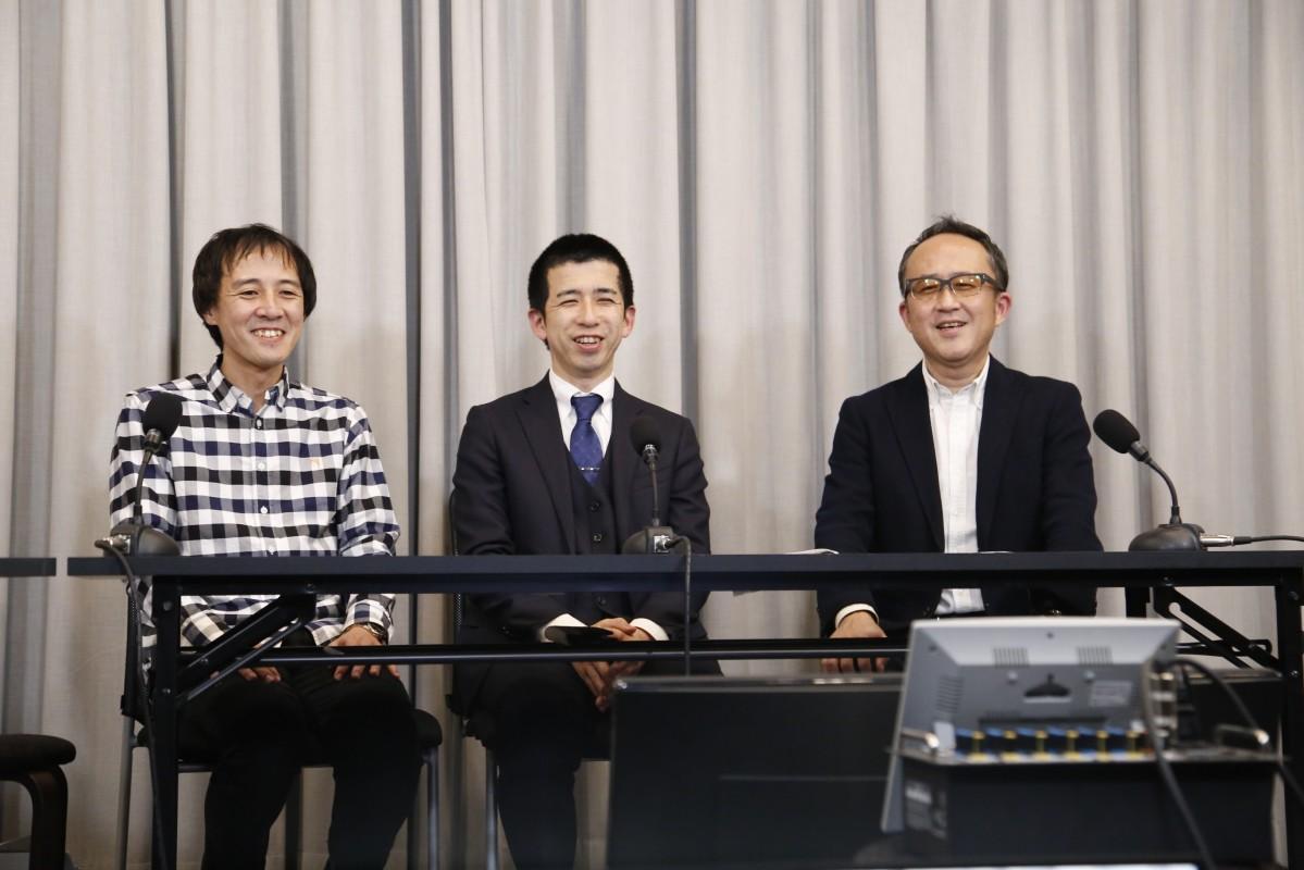 ライブ配信で支援を呼び掛ける廣岡祐次さん、大里明さん、常盤良彦さん