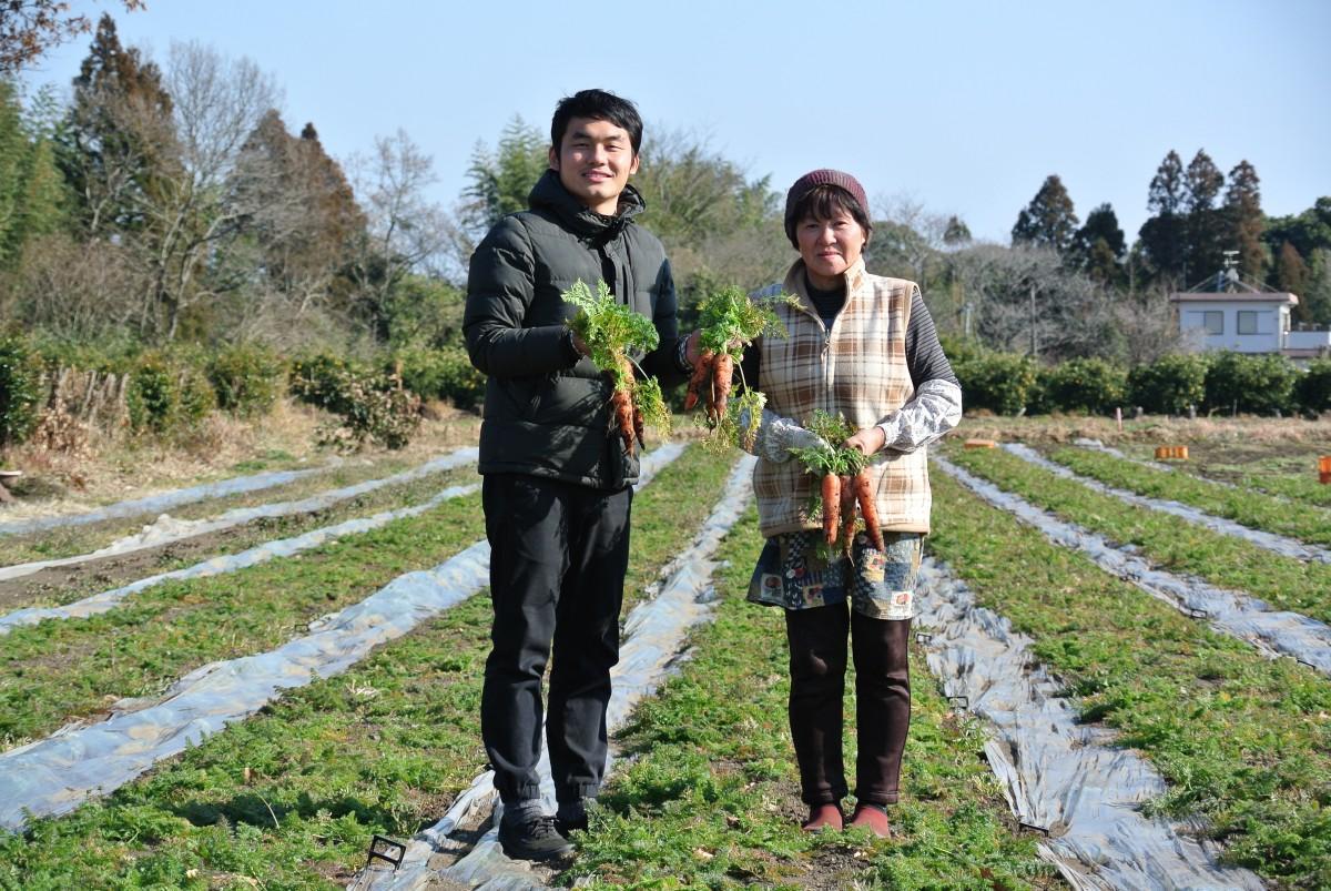 代表の田村健登さんと綾町の農家・北野アツ子さん