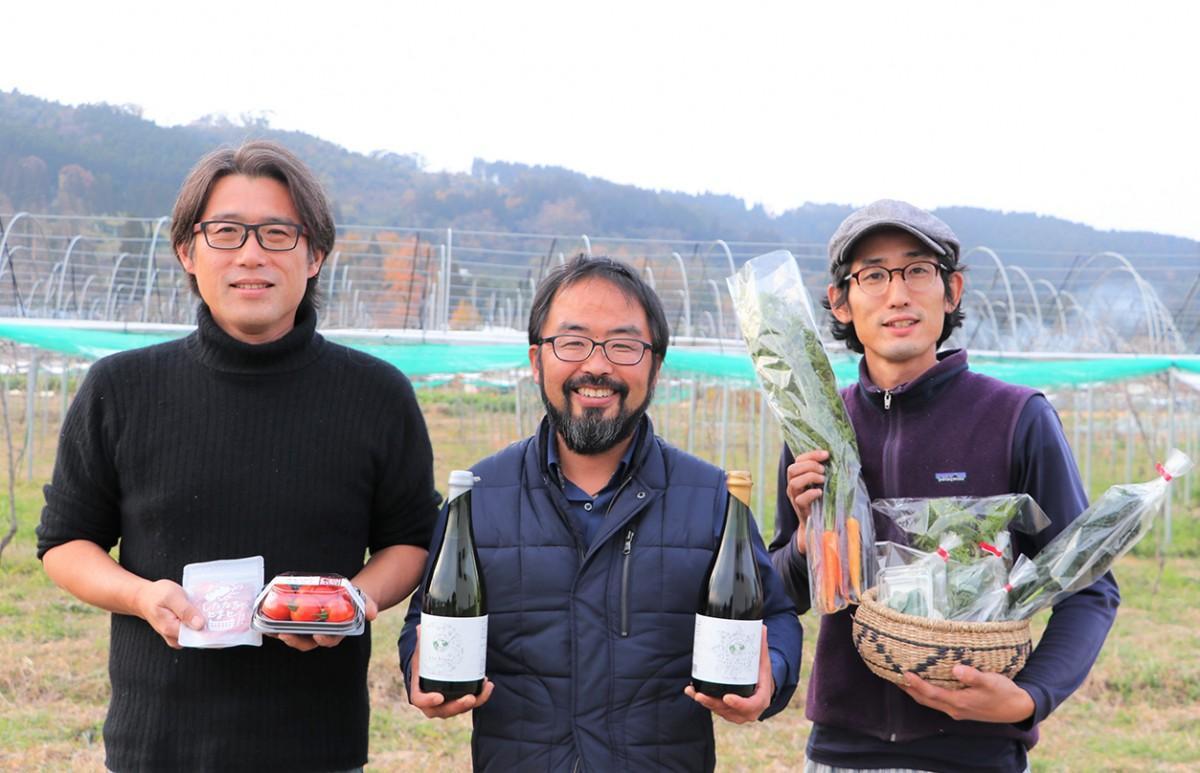 香月ワインズ代表・香月克公さんとダッグを組む、「クリムゾンフィールド」・柳田英明さんと、「ながはら農園」・長原 翔さん