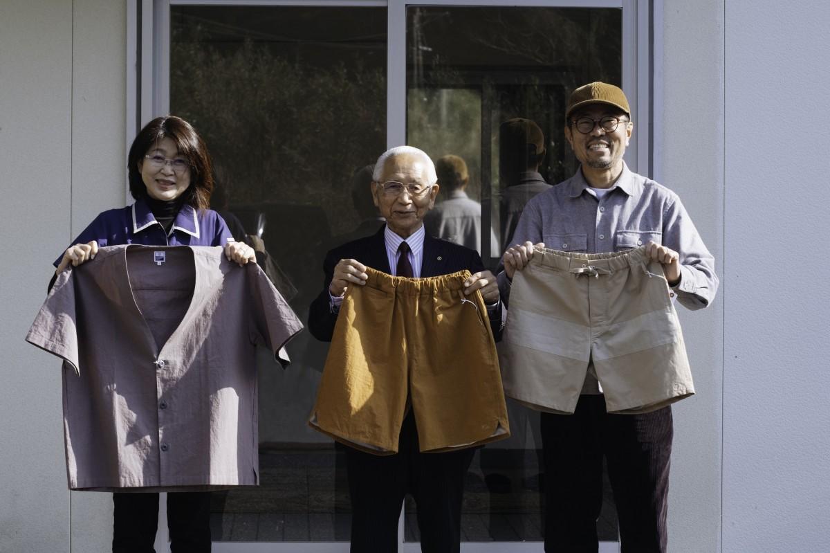 (画像左から)工場長の山田知子さん、代表取締役の大磯忠男さん、Short pants everydayの錦田雅也さん