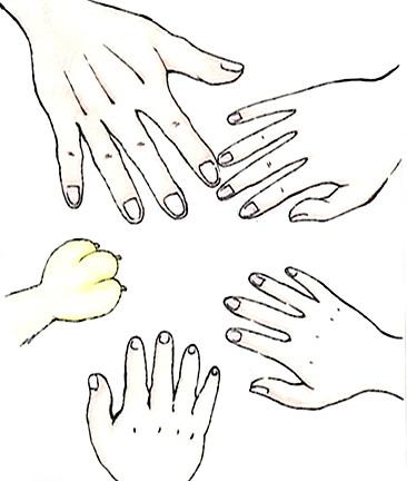 「手と手」のワンシーン。イラストは中学生の石川美咲さん(盛岡市在住)が描いた