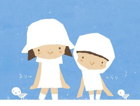 映像の原画イラスト。左が「るり」、右が「らり」。©オガサワラユウダイ