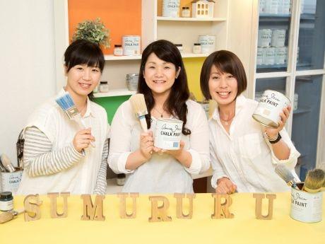 「一緒にペイントを楽しみましょう!」と松原さん、照井さん、村松さん