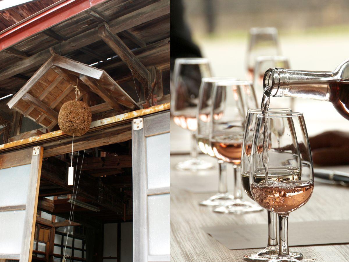 「酒蔵」の目印である杉玉(右)と同町産のぶどうを使ったワイン(左)