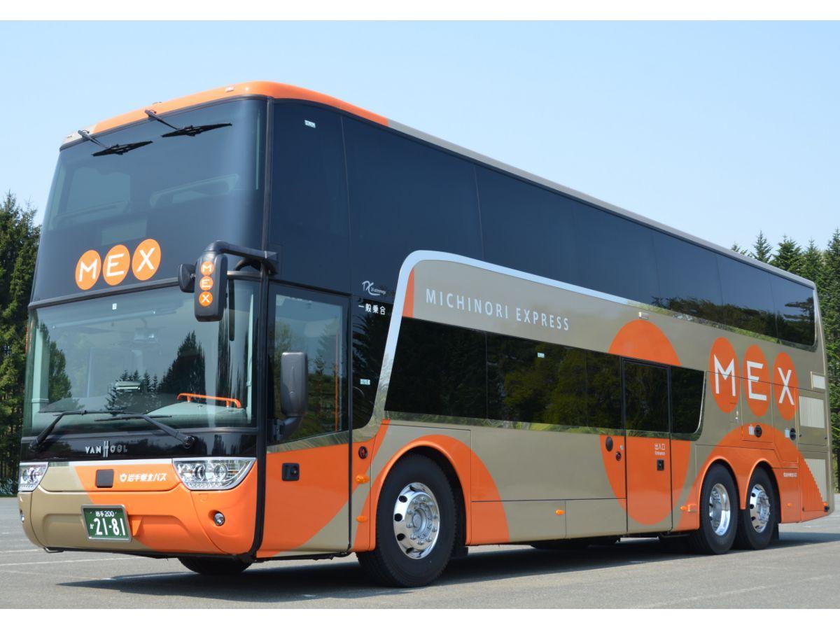7月31日から運行を開始する「盛宮106特急」の2階建てバス
