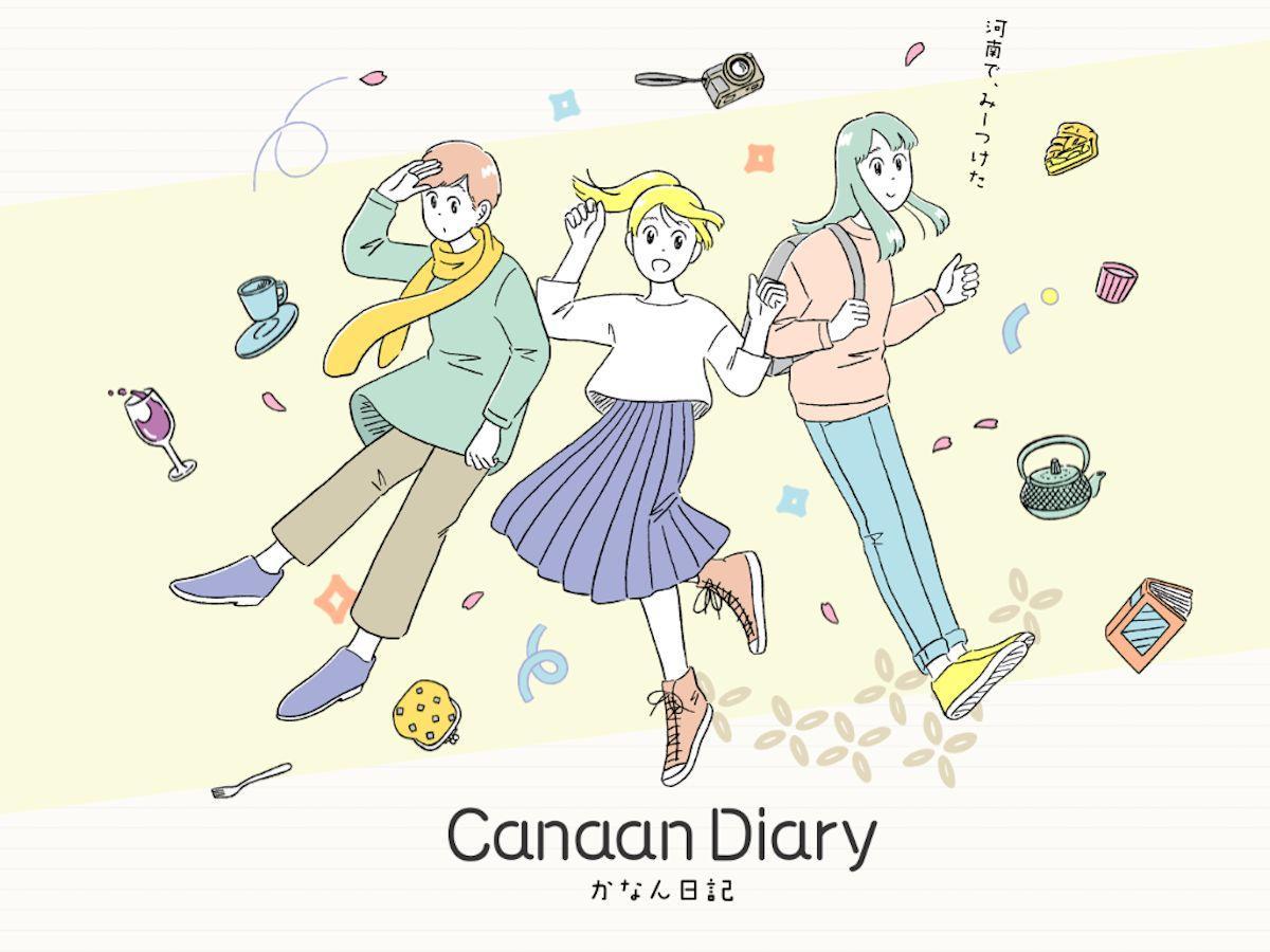 「Canaan Diary」に登場する青乃(左)・茜(中央)・菜々子(右)の3人