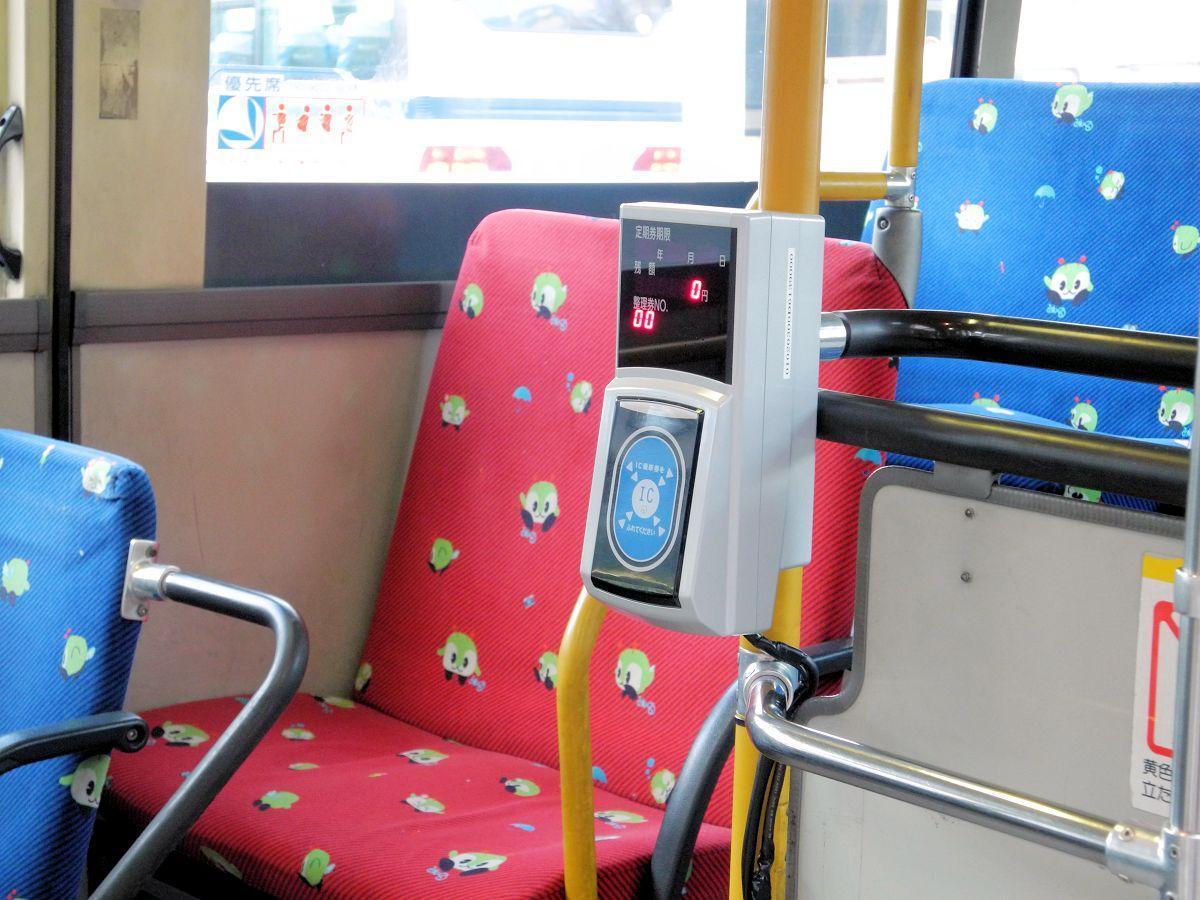 現在「でんでんむし」で実験が行われている交通系ICカード用の車載機器