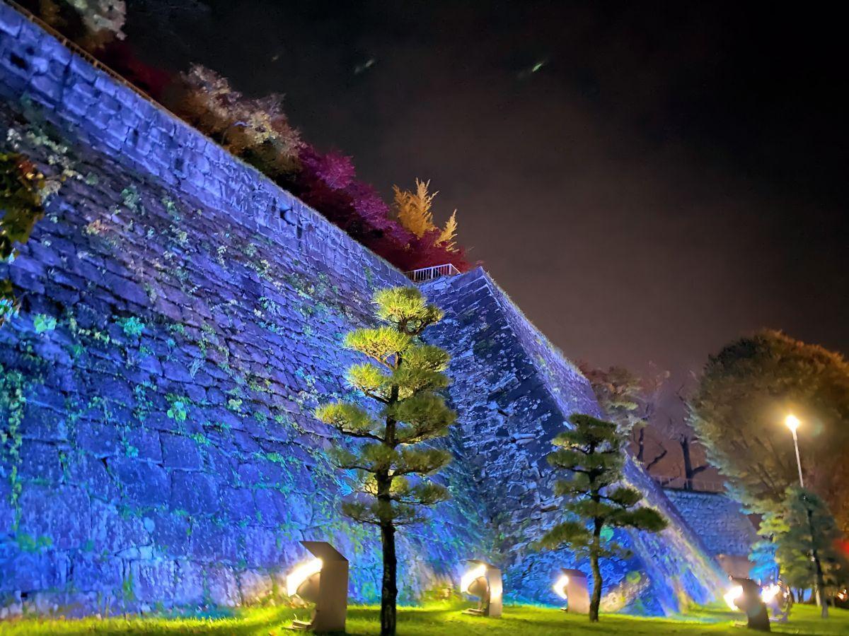 青い光に照らされた盛岡城跡公園の石垣
