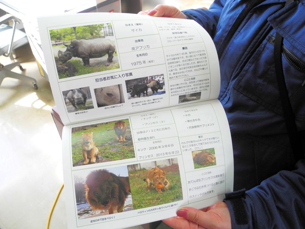 「動物履歴書」本の一部。看板をそのまま本にした内容になっている