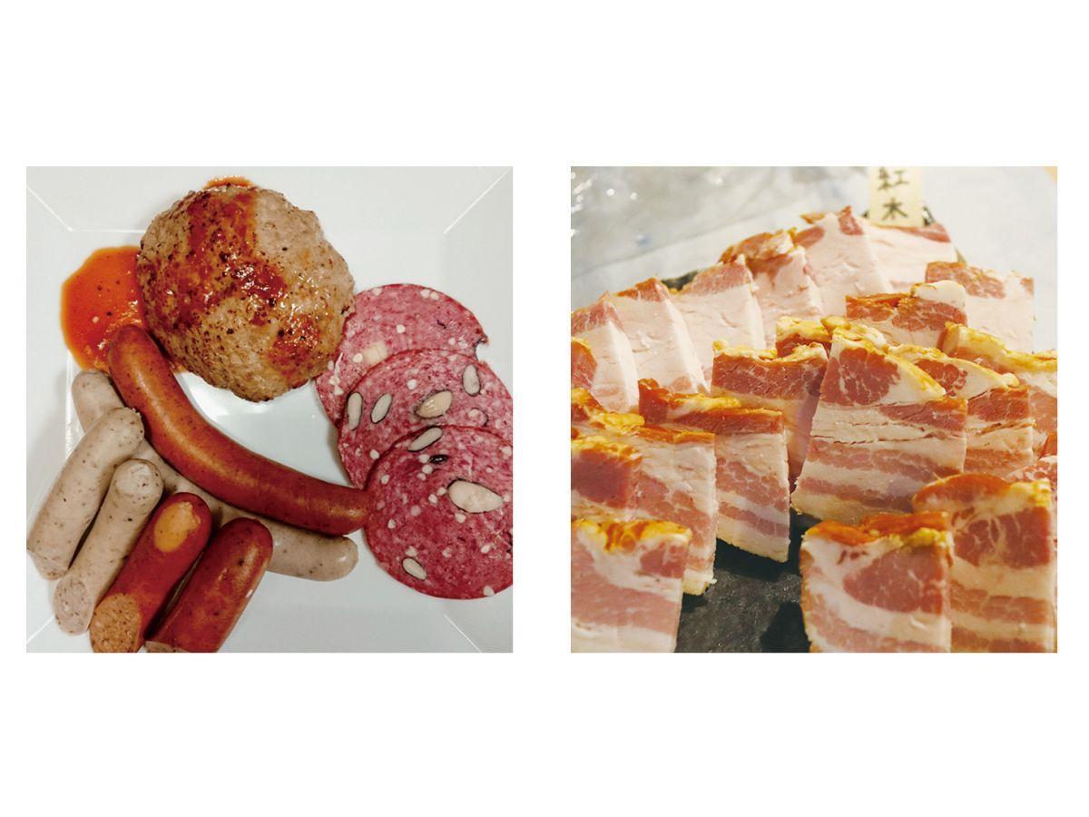 試作品のソーセージやサラミなど。もりおか短角牛や紅木豚など盛岡産の食材が使われている